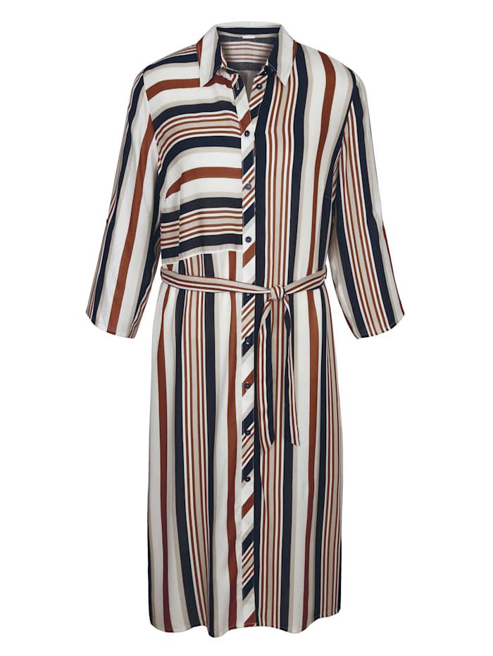 MIAMODA Kleid aus hochwertigem Blusenstoff, Beige/Marineblau/Rost