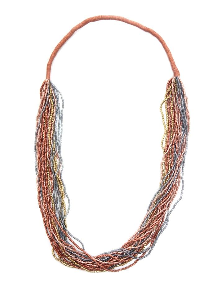 Collezione Alessandro Lange Kette Mia Kette mit Behang aus kleinen Glas-und Metallperlen, mehrfarbig