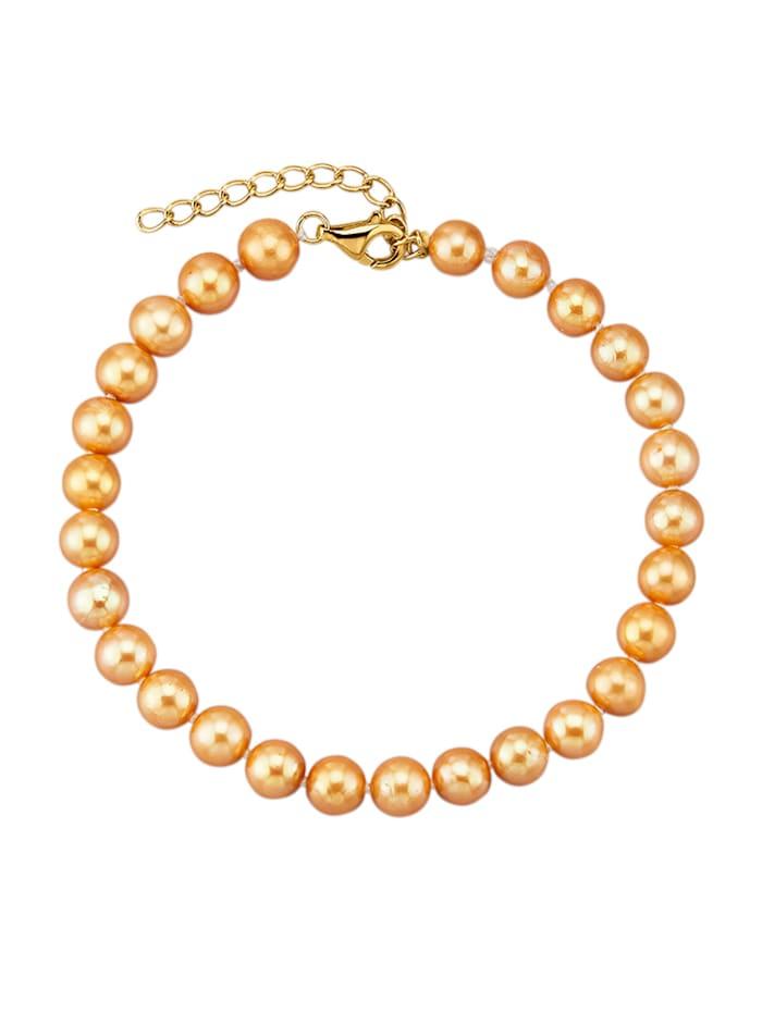 Diemer Perle Armband met goudkleurige cultivé zoetwaterparels, Geelgoudkleur