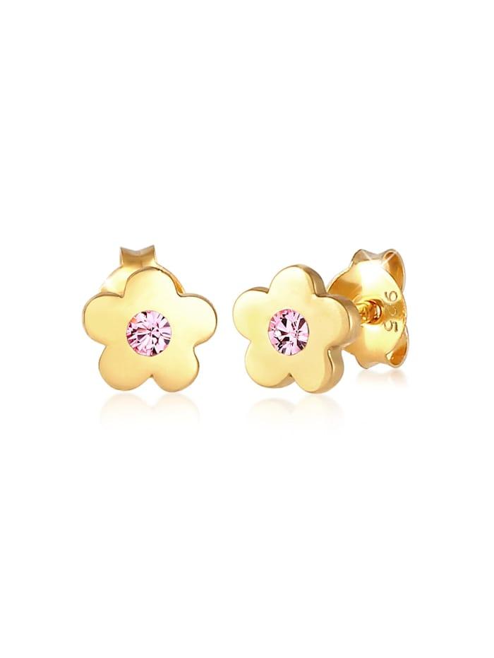 Elli Ohrringe Kinder Blume  Kristalle 925 Silber, Rosa