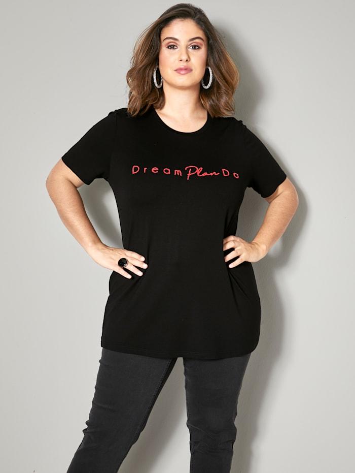 Sara Lindholm Shirt mit Schriftzug aus kleinen Perlchen, Schwarz/Rot