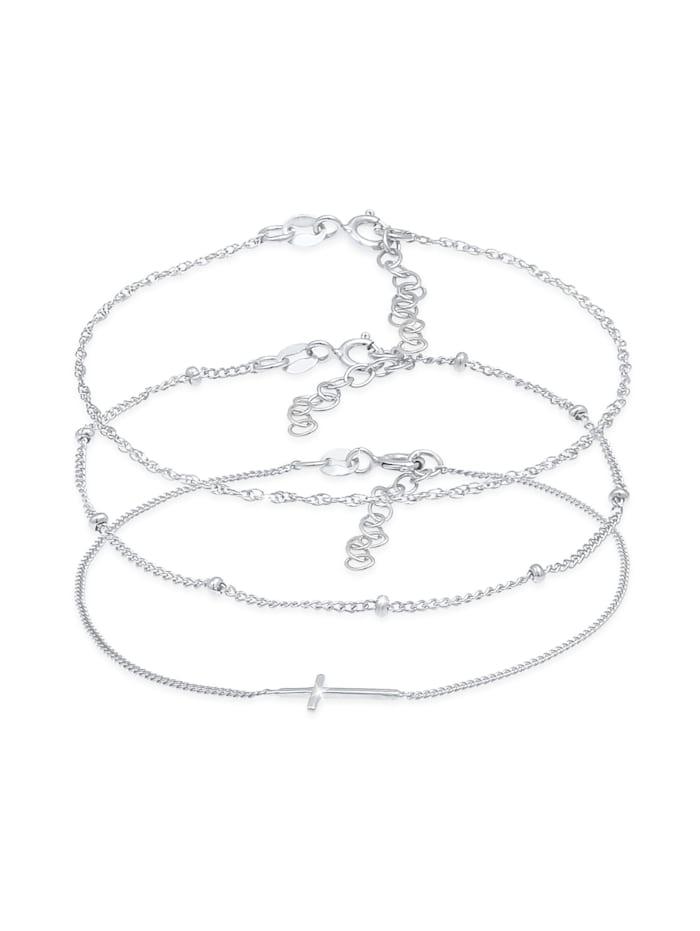 Elli Armband Gedreht Kugel Kreuz Design 3Er Set 925 Silber, Silber
