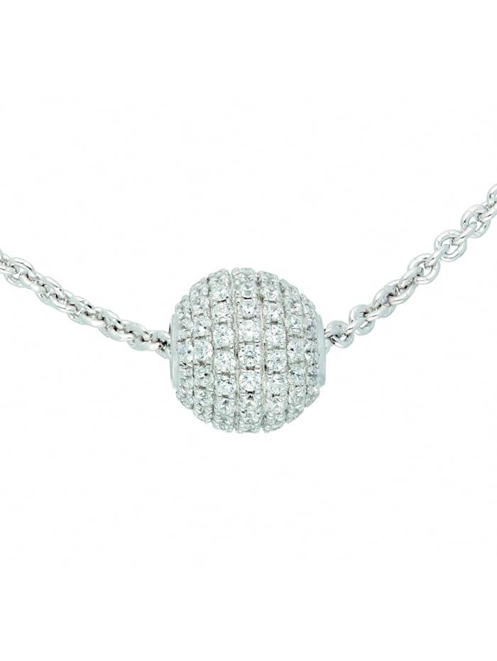 1001 Diamonds Damen Silberschmuck 925 Silber Anker Anhänger mit Zirkonia 42 cm, silber