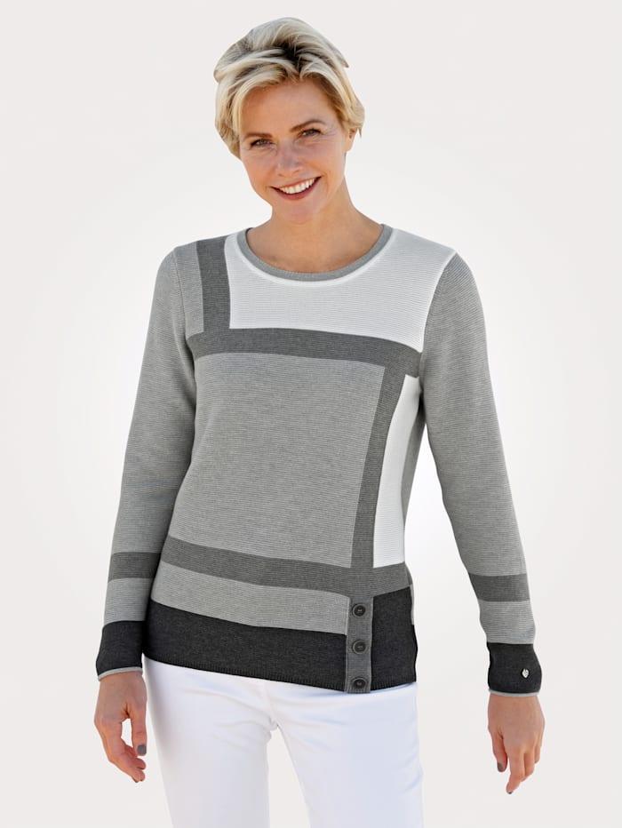 Rabe Pullover mit Zierknöpfen, Grau/Ecru
