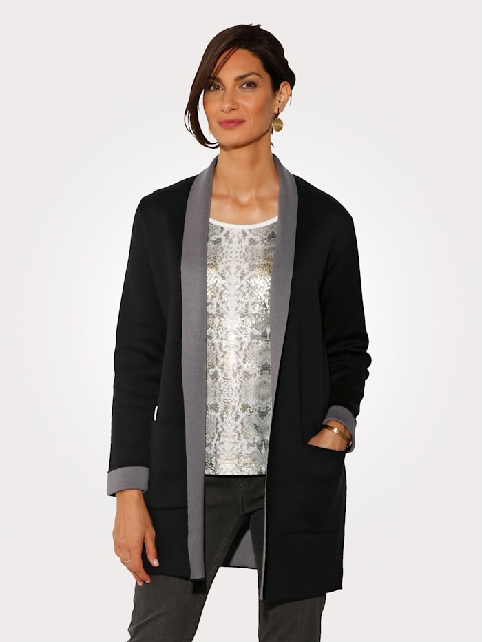 MONA Longline cardigan made from double face fabric, Black/Grey