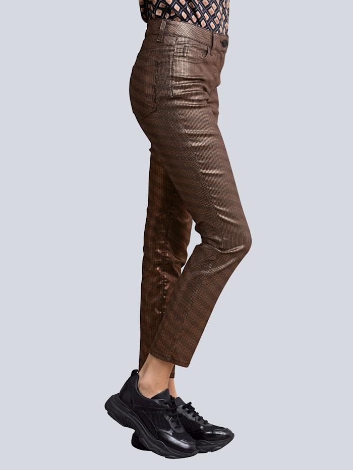 Alba Moda Jeans in effektvoll changierender Qualität, Schwarz/Kupferfarben