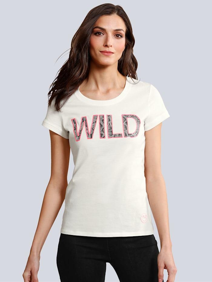 OUI T-Shirt mit Schriftzug im Vorderteil, Weiß