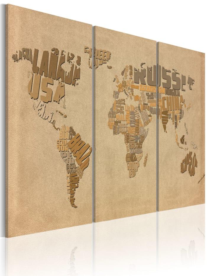 artgeist Wandbild Alte Weltkarte - Triptychon, Beige,Braun,Grau