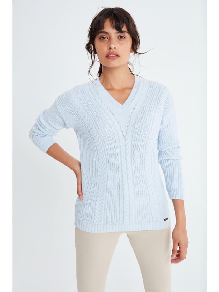 Auden Cavill V-Ausschnitt Pullover Mina mit unifarbenen Stoff, Babyblau