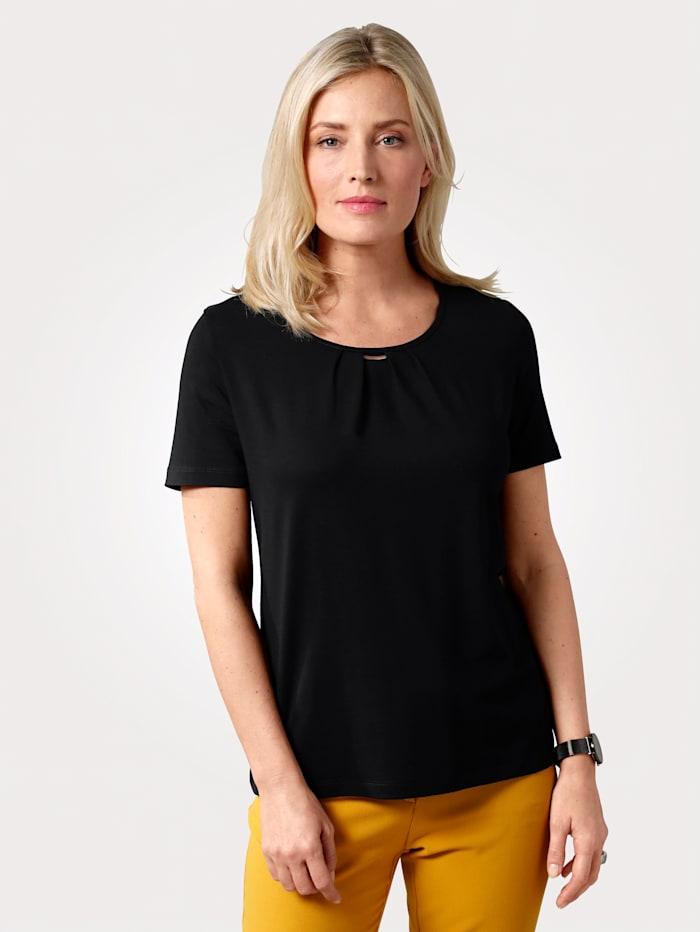 MONA T-shirt en fine maille jersey, Noir