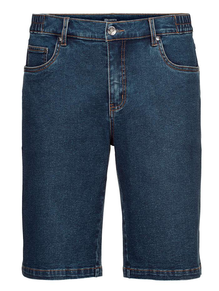 Jeansbermuda met elastische bandinzetten opzij