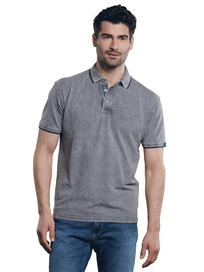 Engbers Poloshirt mit sportiven Details, Taubenblau
