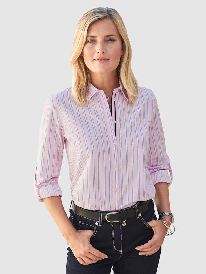 MONA Bluse mit Webstreifen, Rosé/Blau/Weiß