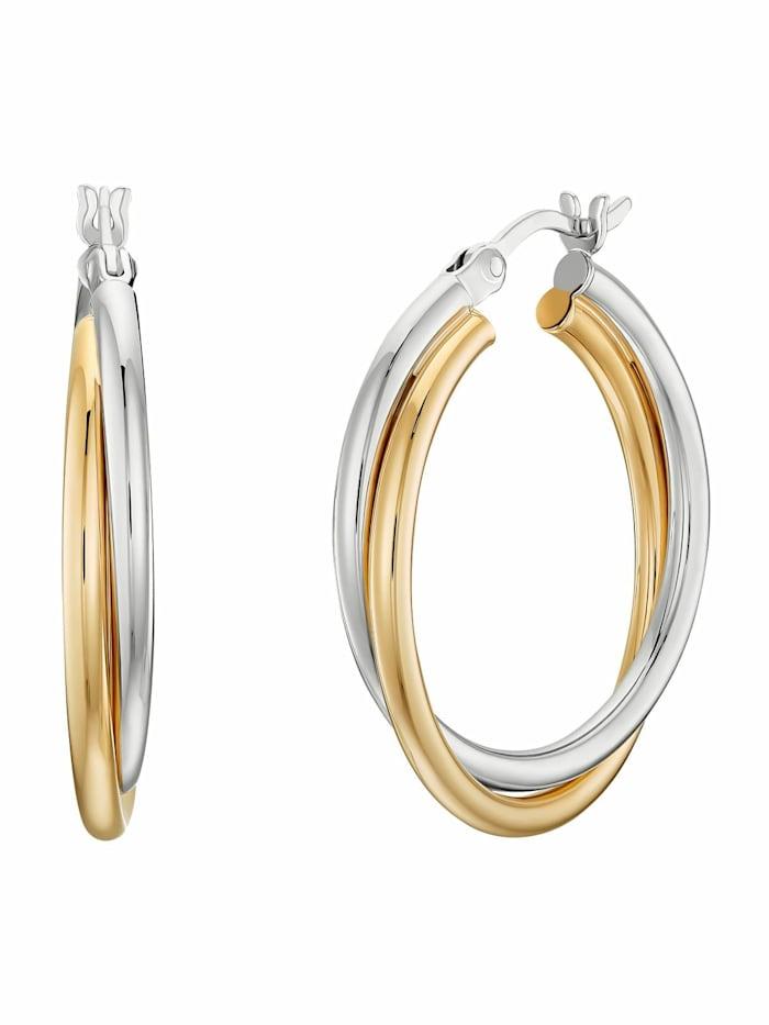 Creolen für Damen, Sterling Silber 925 teil-vergoldet