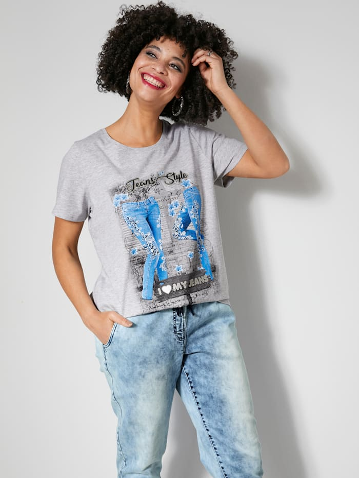 Angel of Style Shirt mit schönem Printmotiv, Hellgrau