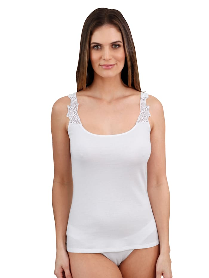 Harmony Hemdje met kant en pailletten op de bandjes voor, Wit