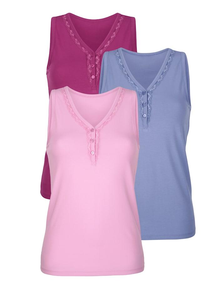 Blue Moon Hemdjes met kant en sierknopen aan de hals, Blauw/Fuchsia/Roze