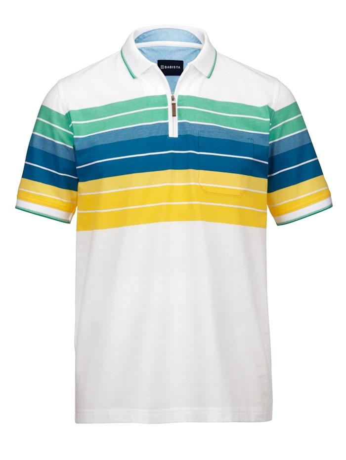 BABISTA Polo en fine maille piquée aérée, Blanc/Jaune/Vert/Bleu