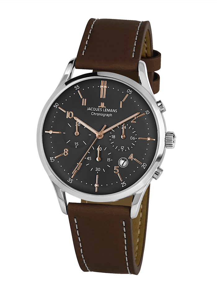 Jacques Lemans Herren-Uhr Chronograph Serie: Retro Classic, Kollektion: Retro Classic: 1- 2068O, Dunkelbraun