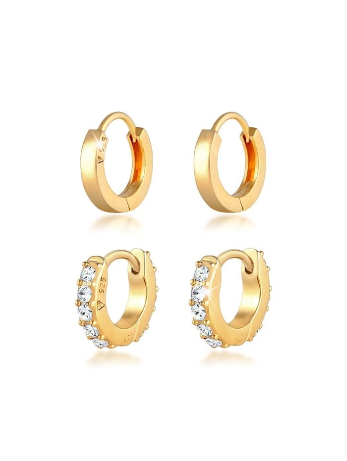 Elli Ohrringe Creolen Glanz Kristalle Set 925 Silber, Gold