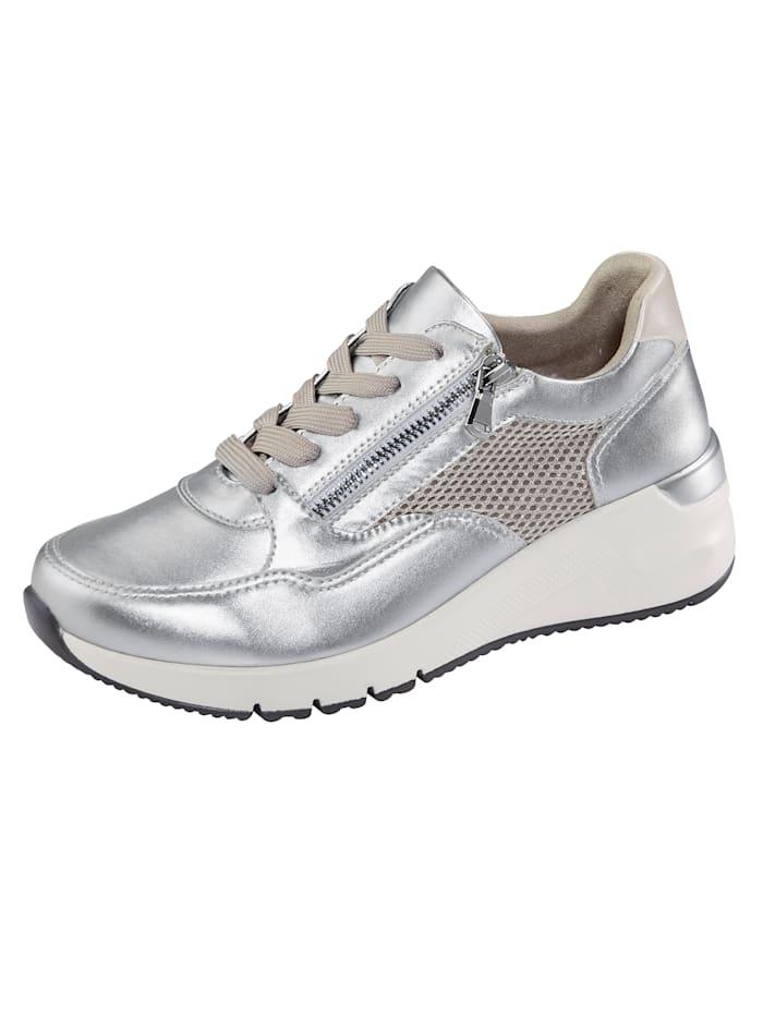 Liva Loop Sneaker met luchtige meshinzetten, Zilverkleur