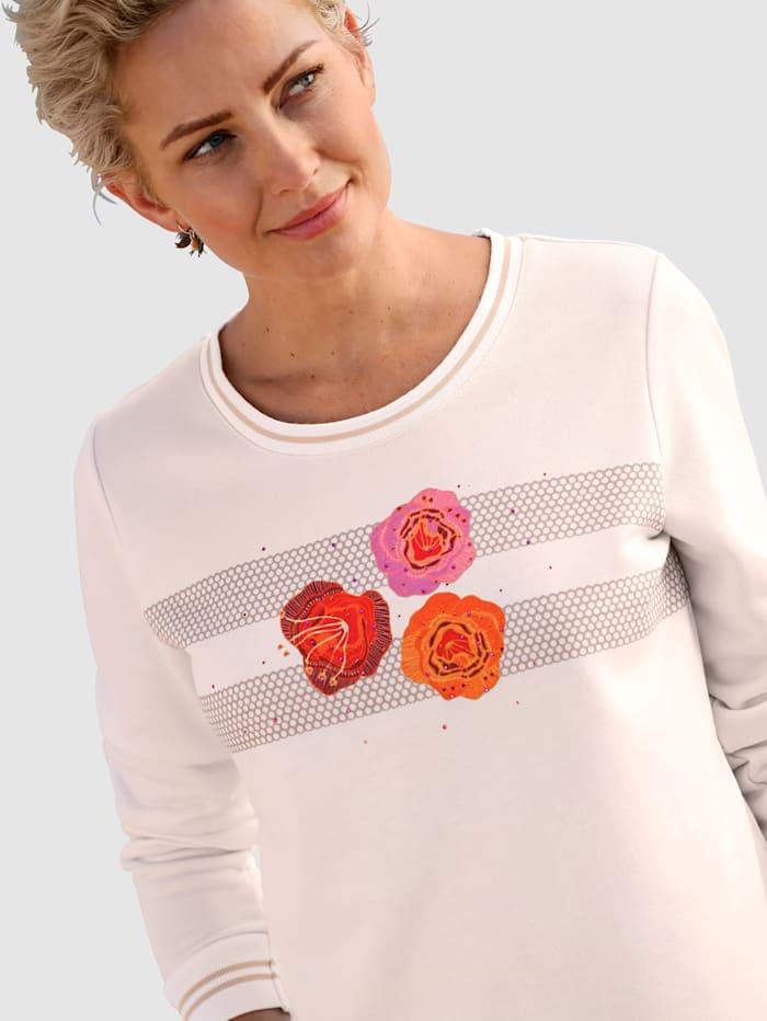 Sweatshirt med blommotiv