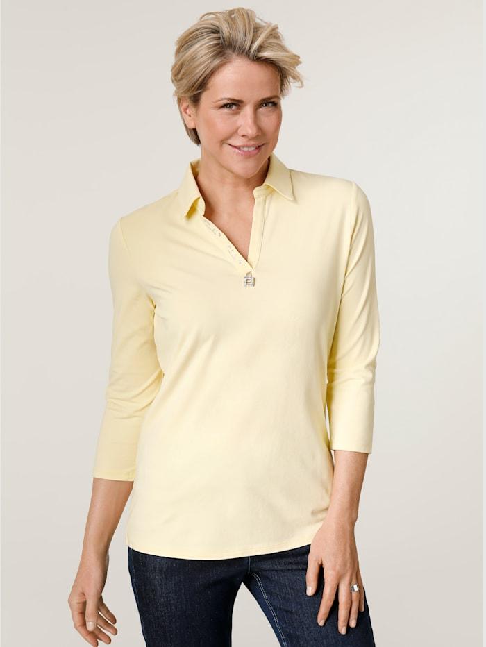 MONA Poloshirt mit Zierschnalle, Gelb