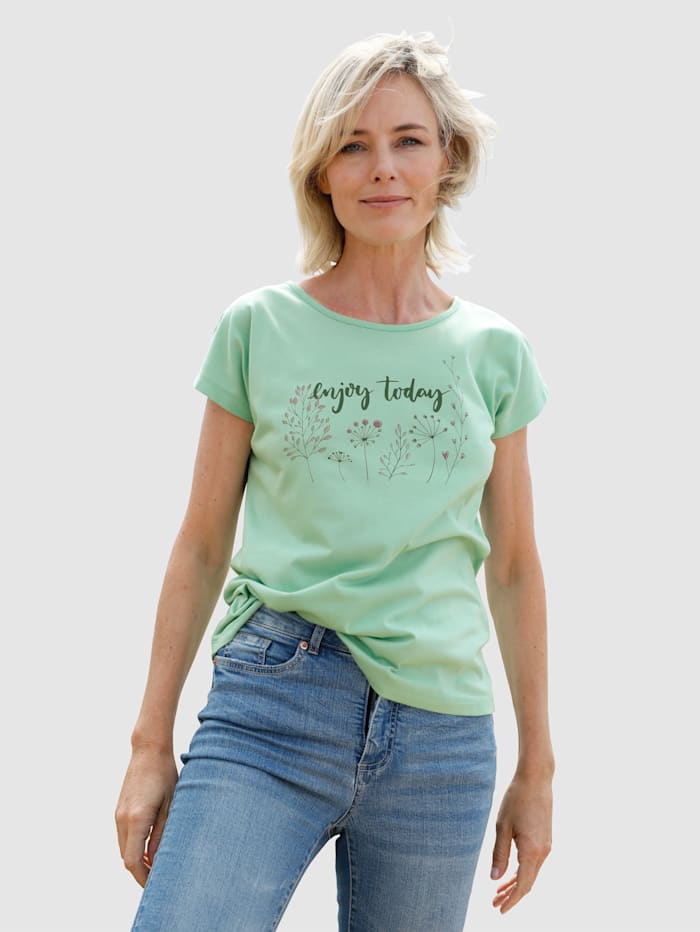 Dress In Shirt mit modernem Druck, Lindgrün