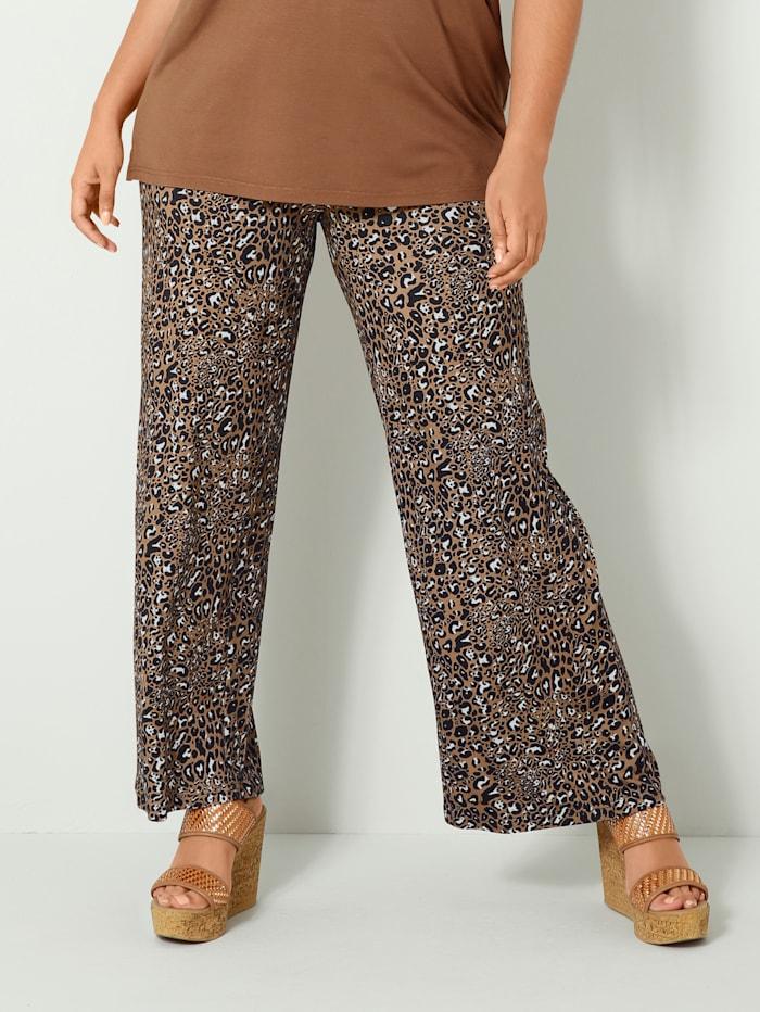 Sara Lindholm Jersey broek Comfortabel instapmodel, Cognac/Zwart/Wit