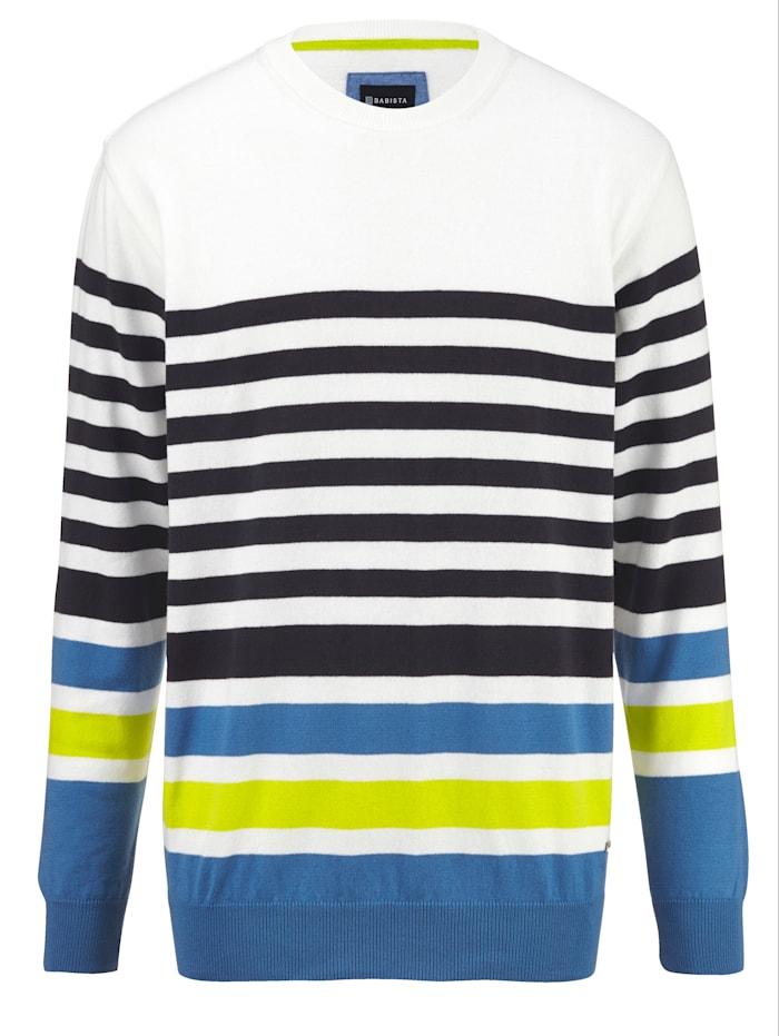 BABISTA Pullover mit garngefärbtem Streifendessin rundum, Ecru/Marineblau