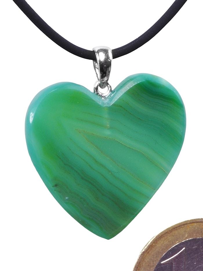 1001 Diamonds Damen Schmuck Edelstein Achat Anhänger 925 Silber grün Herz, grün