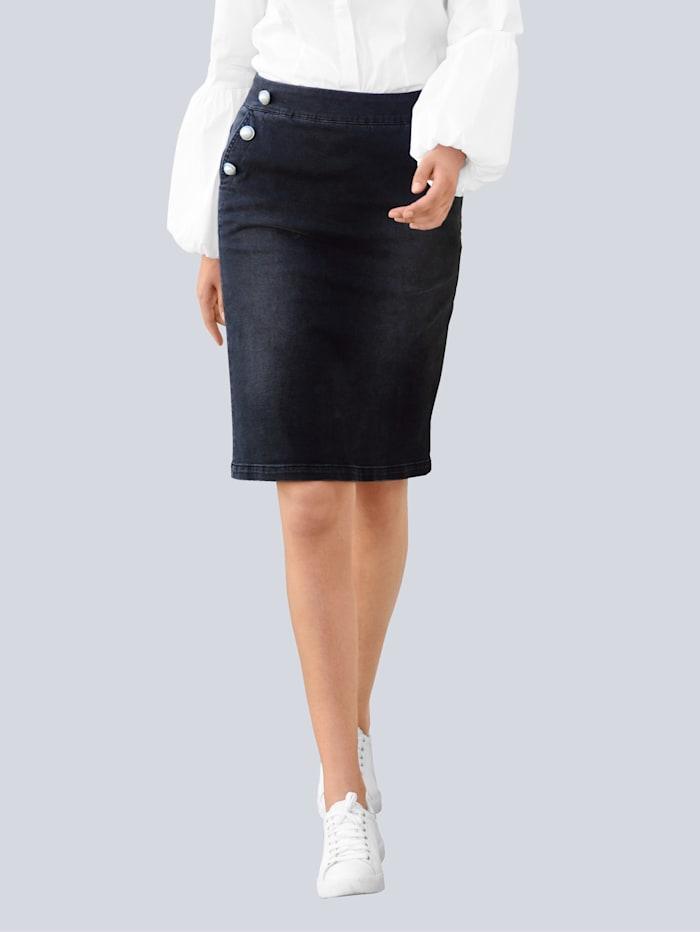 Alba Moda Spijkerrok met imitatieparels langs de zakken, Zwart