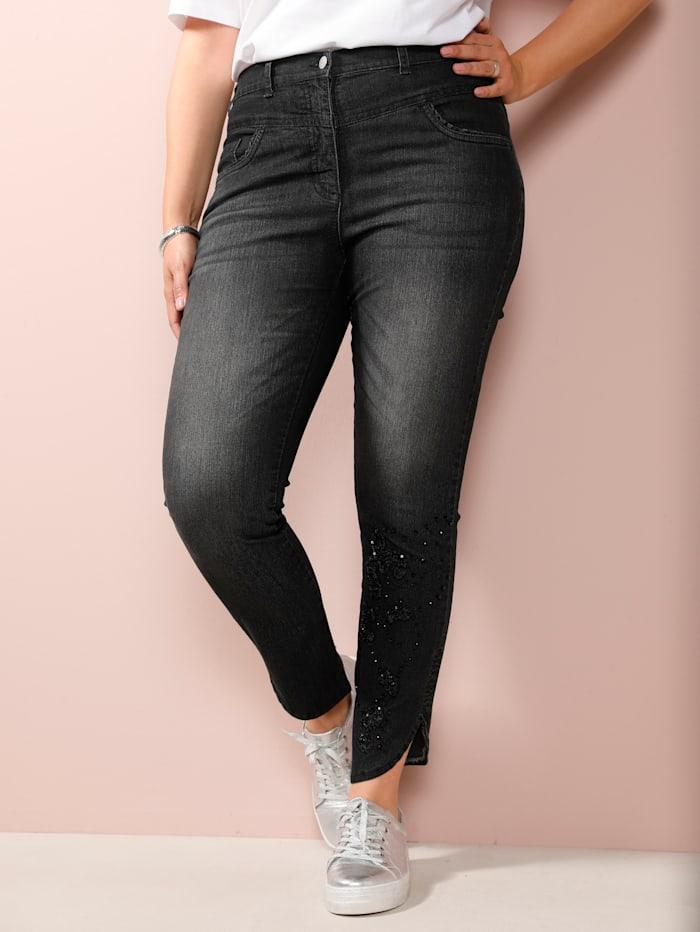 MIAMODA Jeans mit Verzierung am Saum, Grey