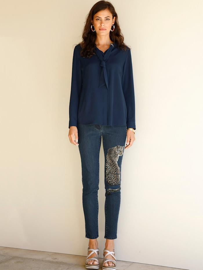AMY VERMONT Jeans mit platziertem Druck, Blue bleached