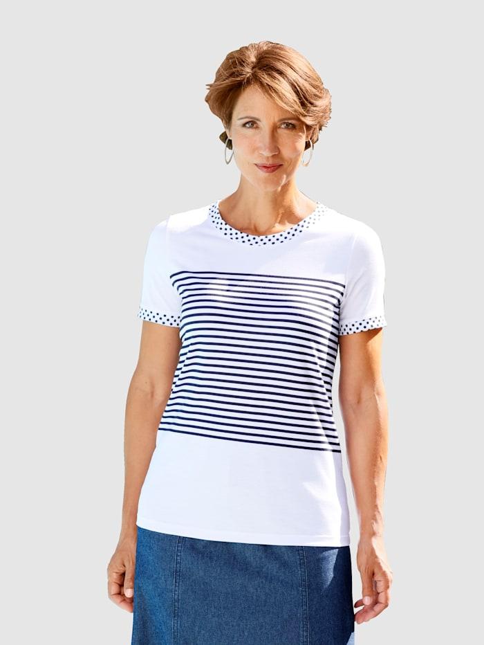 Paola Shirt mit Puntke und Streifendruck, Weiß/Marineblau