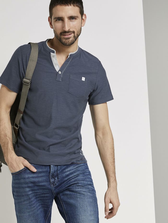 Tom Tailor Gestreiftes Henley-T-Shirt, cyber grey yarndye stripe
