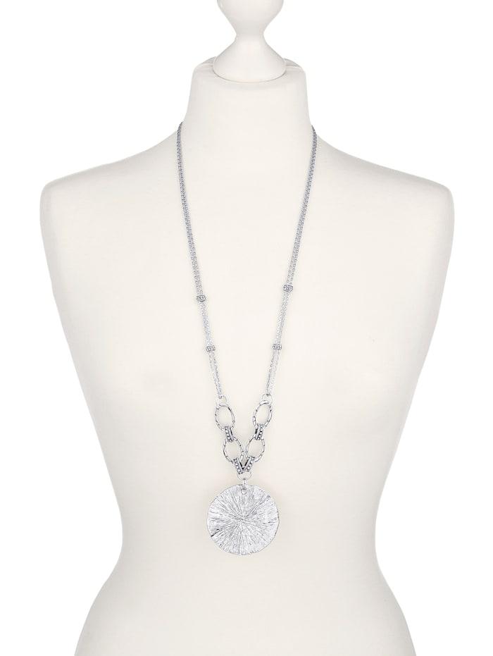 KLiNGEL Halskette mit Glassteinen, Silberfarben