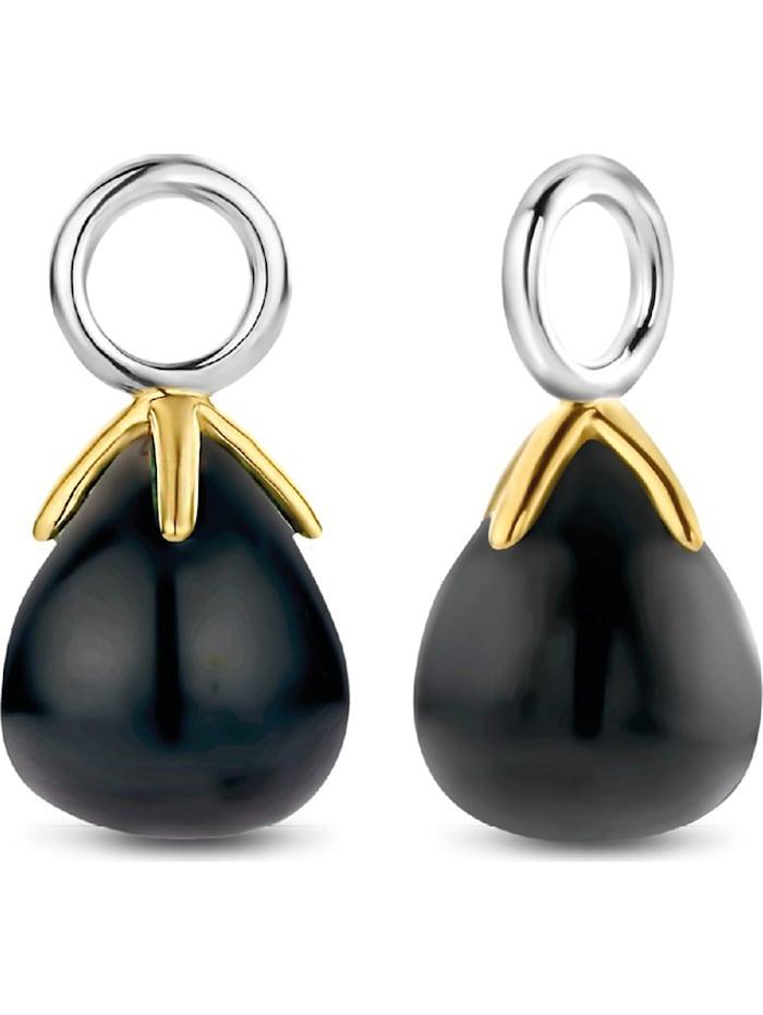 Ti Sento Milano Ti Sento - Milano Damen-Ohrringe 925er Silber Farbstein, gold/schwarz