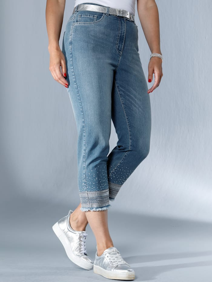 MIAMODA Jeans am Saum mit Stickereien, Pailletten und Fransen, Blue bleached