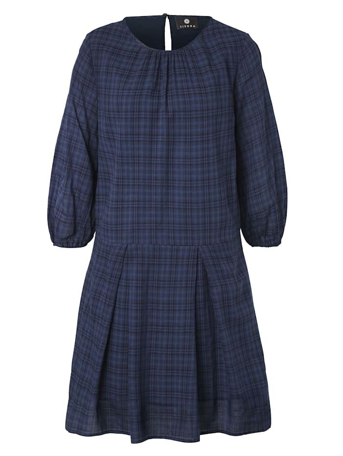 SIENNA Kleid mit modischem Check, Blau