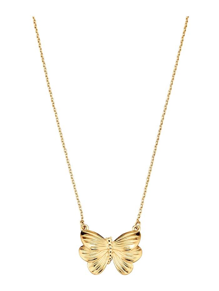 Amara Highlights Collier Papillon en argent 925, Coloris or jaune