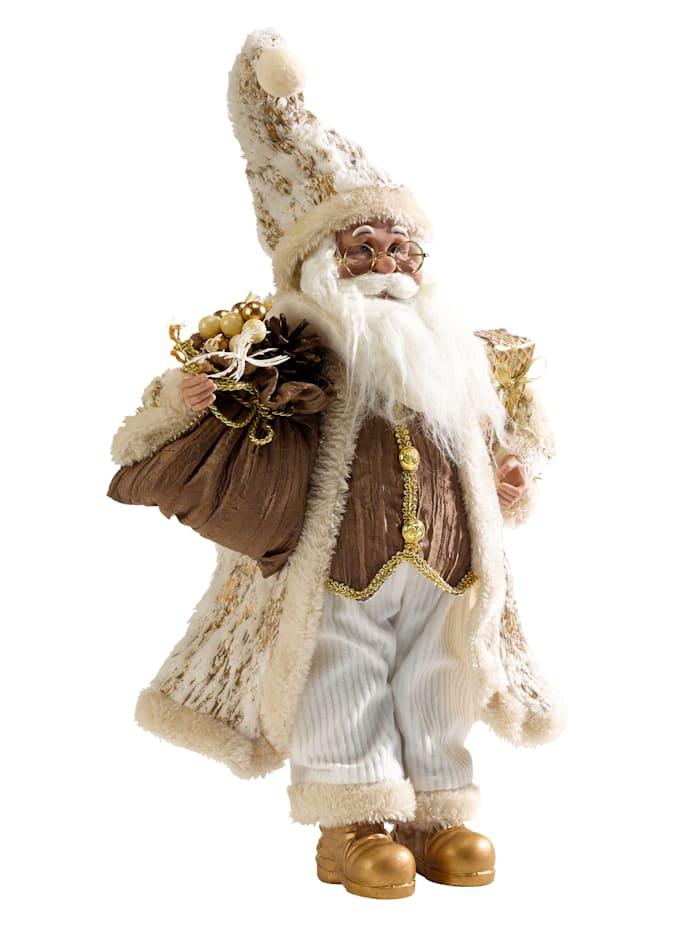 Dekofigur Weihnachtsmann, Creme-Weiß/Goldfarben