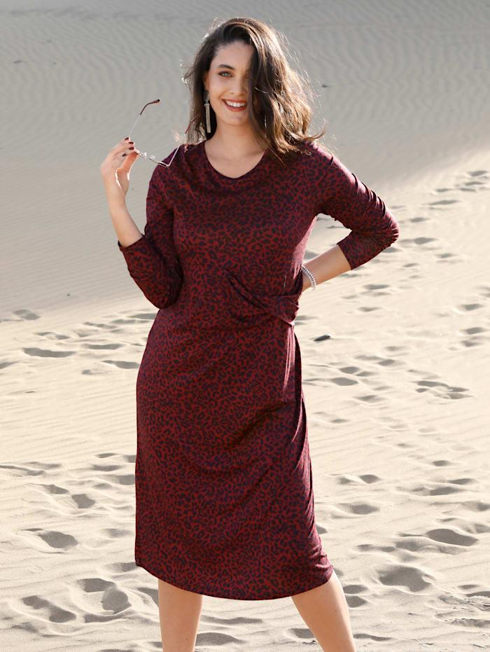 MIAMODA Jerseykleid mit Animaldruck, Bordeaux/Marineblau