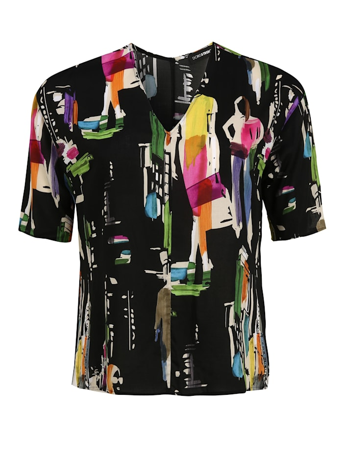 Doris Streich Bluse mit V-Ausschnitt, multicolor