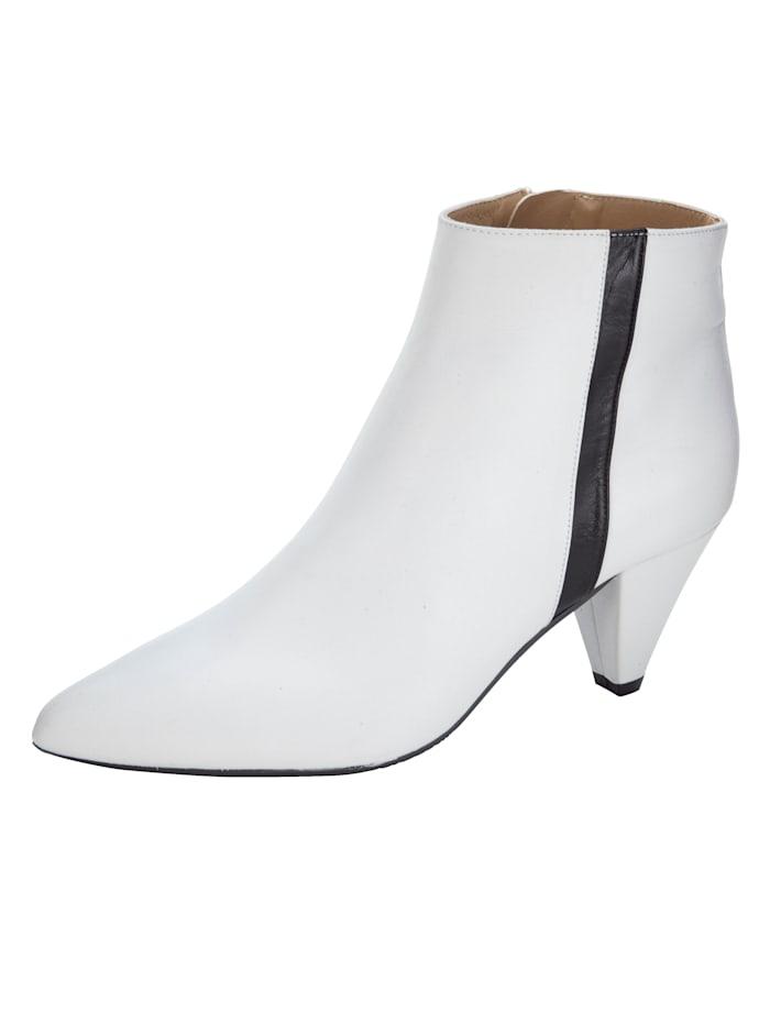 Gennia Stiefelette aus hochwertigem Leder, Weiß