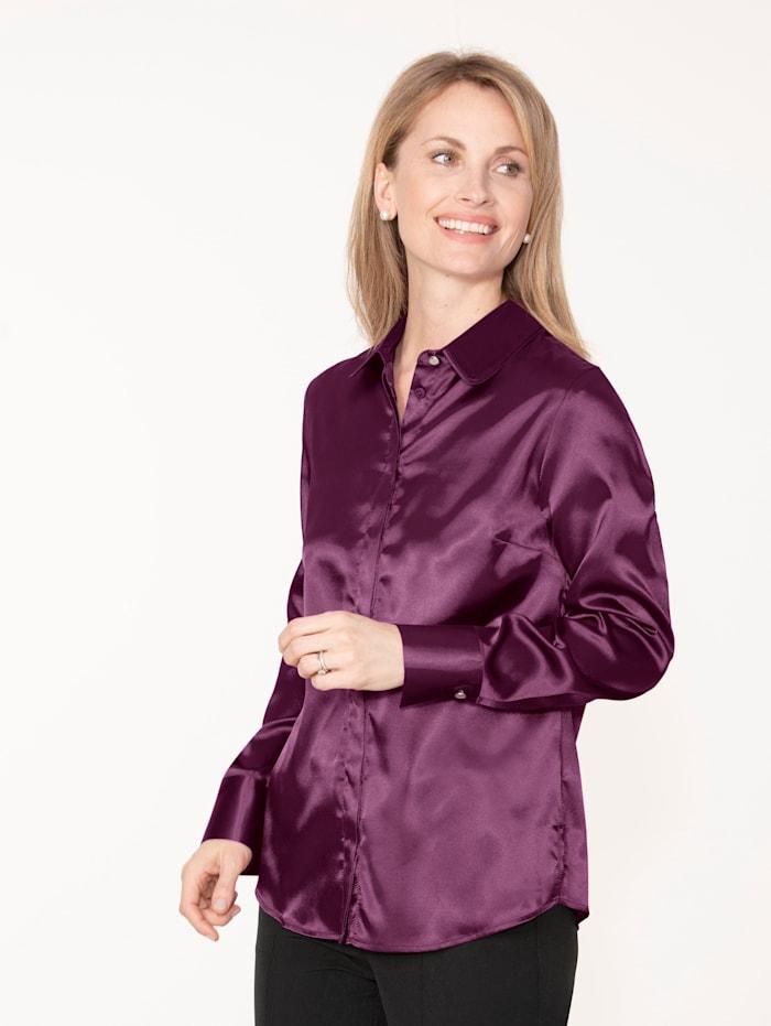 MONA Bluse aus elastischem Satin, Beere