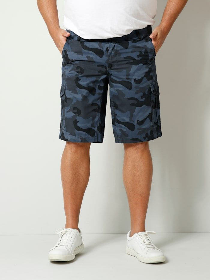 Men Plus Cargobermuda im Camouflage Design, Blau