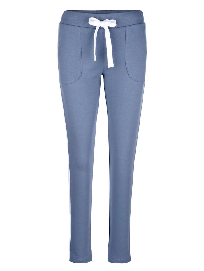 Louis & Louisa Pantalon de loisirs à bandes contrastantes sur les côtés, Bleu fumée/Blanc