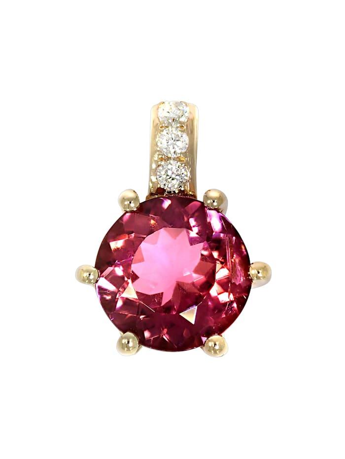 Creazione Bijoux Anhänger 750/- Gold Turmalin pink Turmalin 1,1cm Glänzend 0,98ct., rot