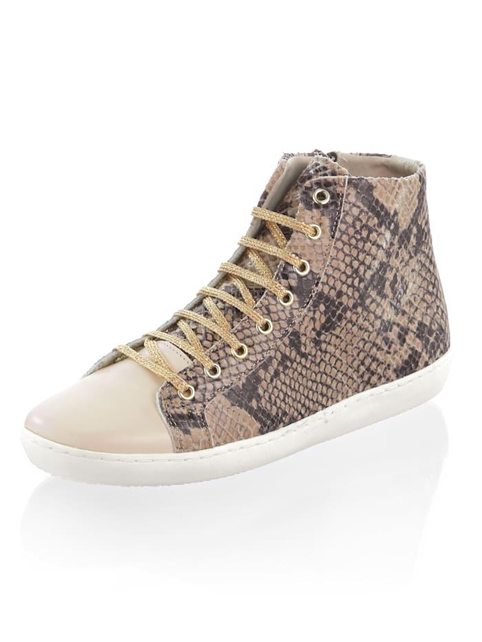 Alba Moda Sneaker im Materialmix, Beige/Braun